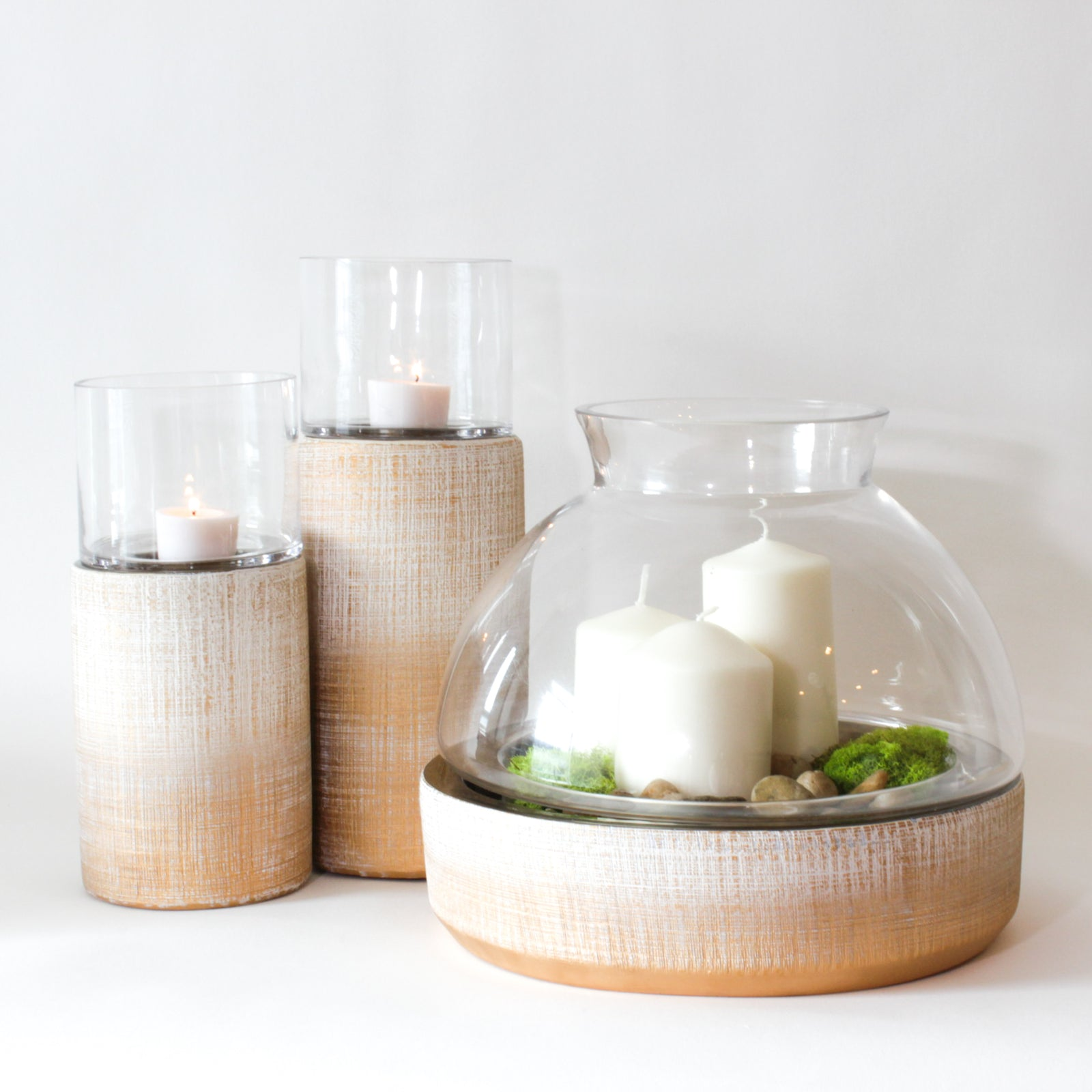 Large ceramic stoneware Candleholder pairs with Cylindrical candleholders for a modern look