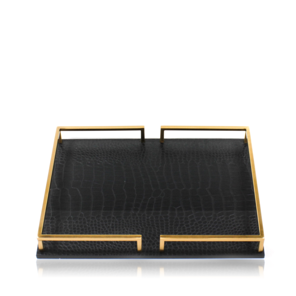 Faux Leather Rectangular Tray With Brass Handle