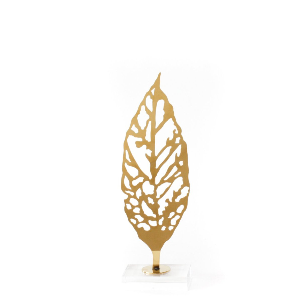 Gold Leaf Sculpture, crystal glass base, stainless steel , small size