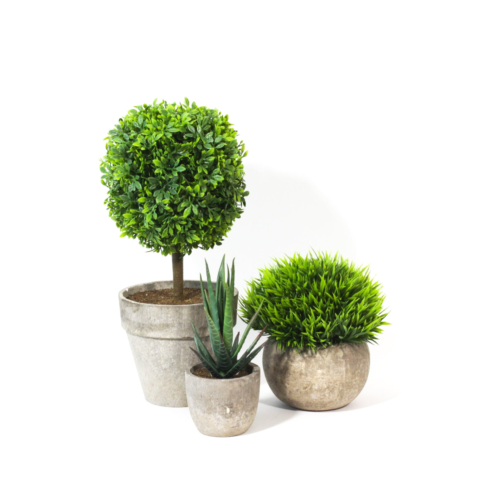 Potted Artificial Boxwood Topiary, faux plants