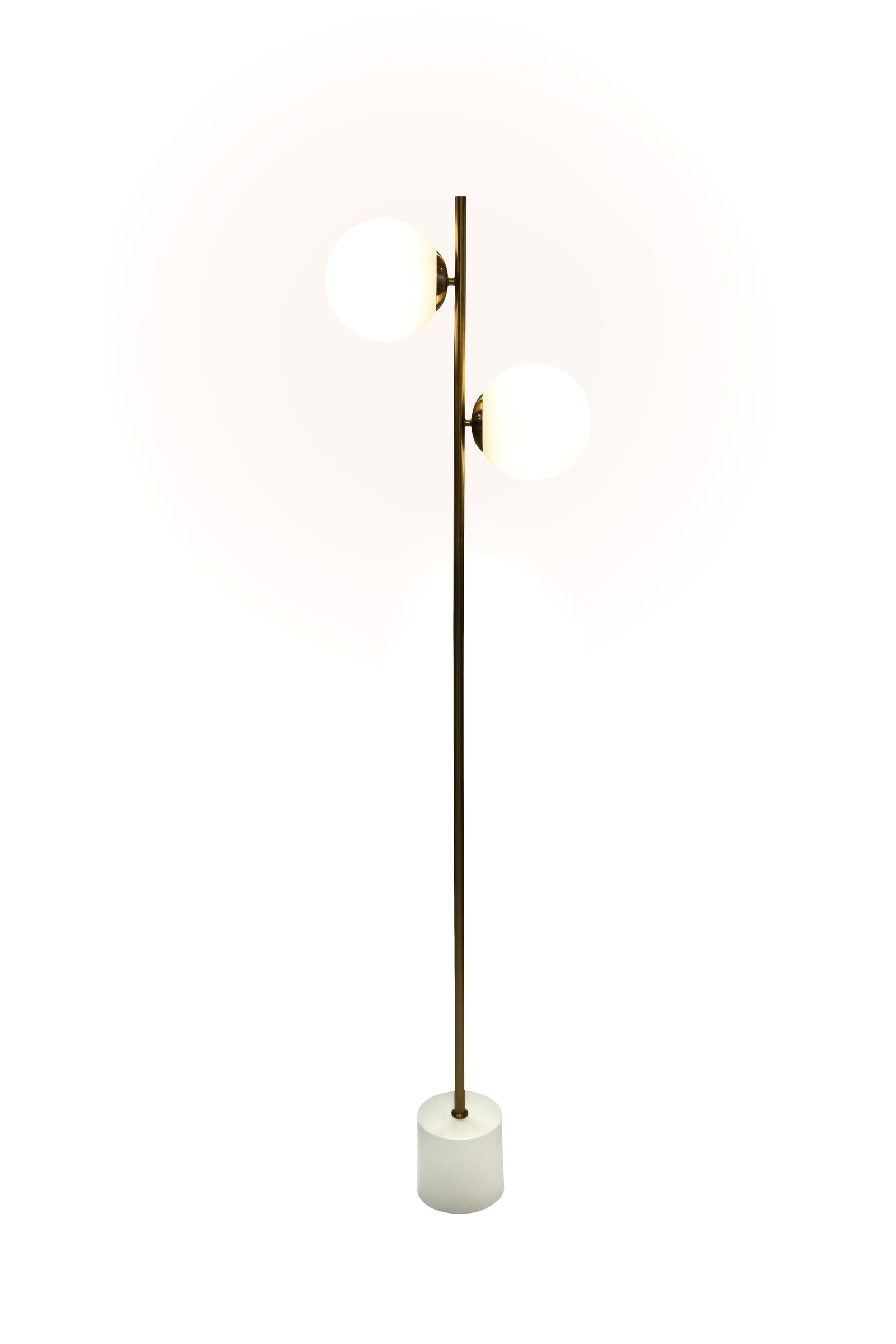 Opaque Glass Globe Floor Lamp with Marble Base