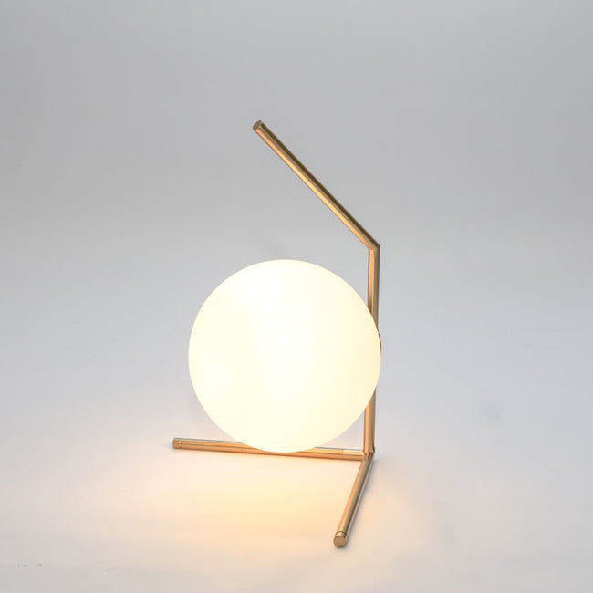 Opaque Sphere with Triangular Stem Table Lamp