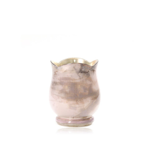 Grey Mystique Glass Vase With Gold Base