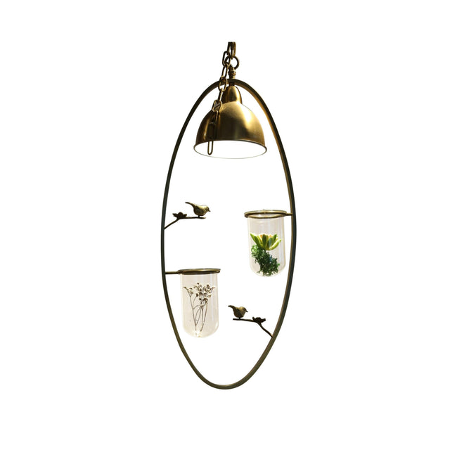 Retro Scandinavian Bird on Wood Branch Chandelier