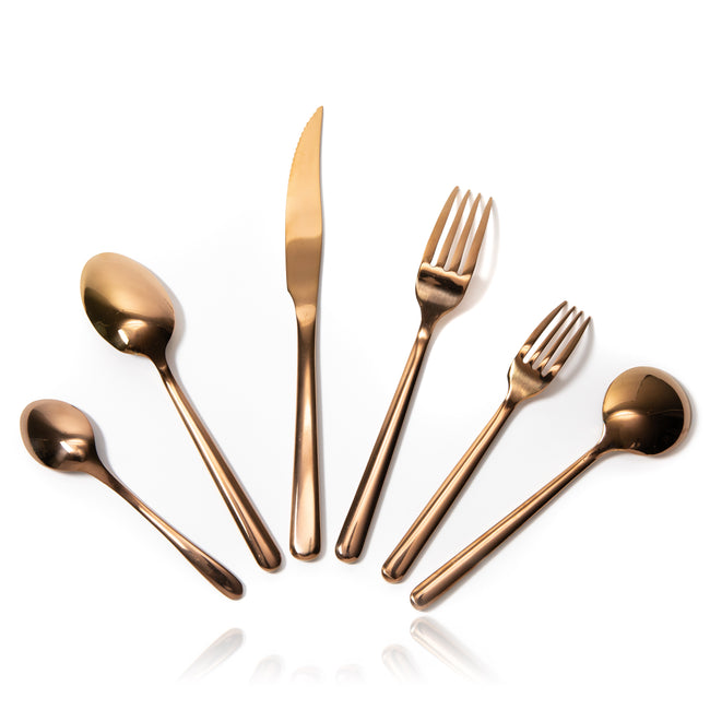 6-Piece Rose Gold Flatware Set