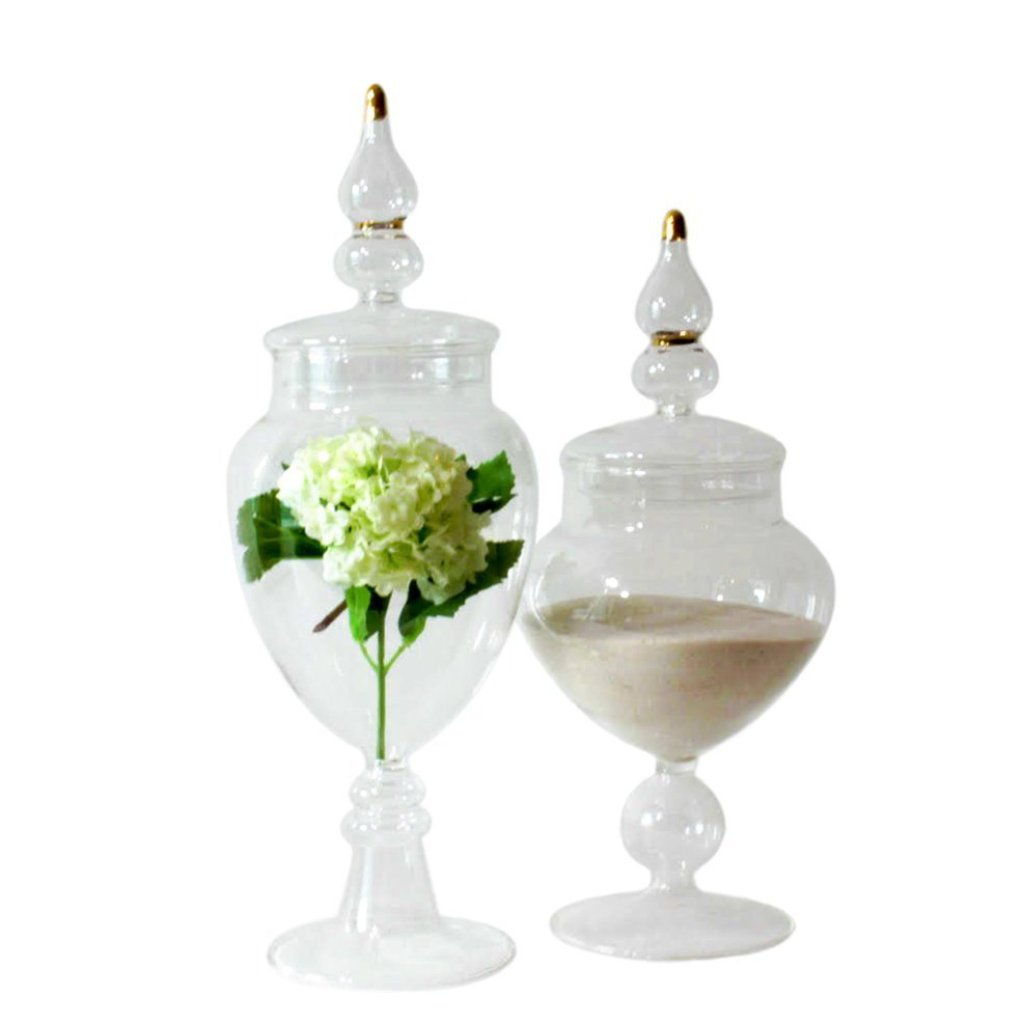 glass ornamental apothecary jars