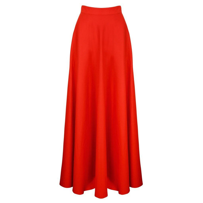 100% Organic Cotton Red Poplin High Waist Long Skirt Women - Apparel - Skirts - Maxi