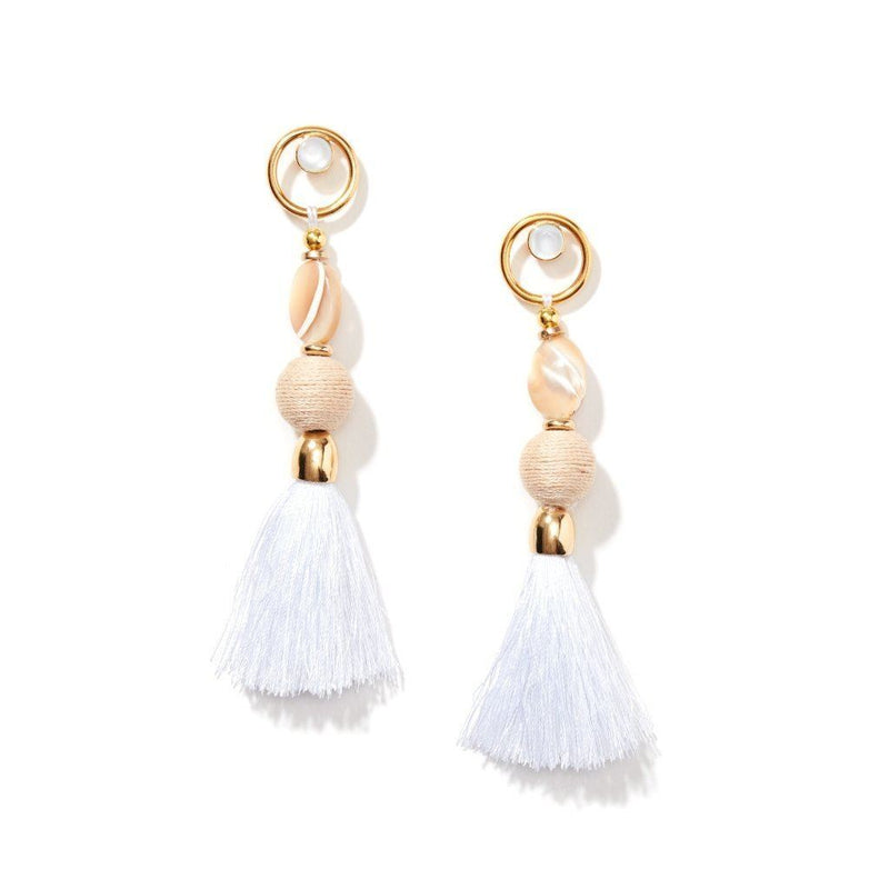 18K Gold Plated Fashion Gemstone Silk Tassel Earrings. Women - Jewelry - Earrings