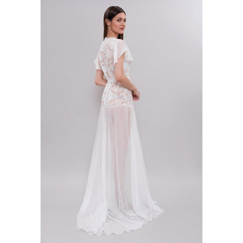 Apilat Ivory Lace And Tulle Bridal Robe In Silk Chiffon Women - Apparel -