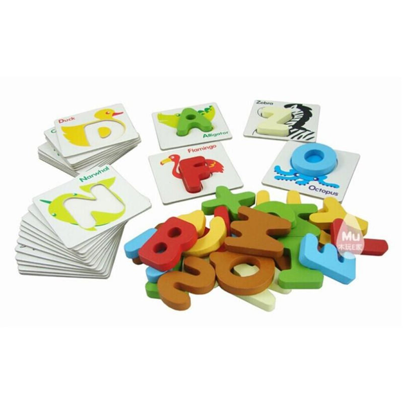 Baby And Toddler Wooden Animal Abcs Alphabet Flash Cards