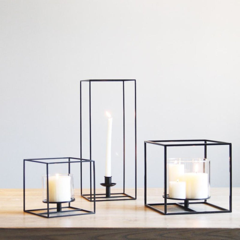 Black Cuboid Metal Candle Holders.