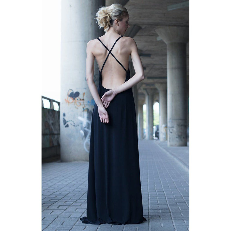 Black Plunging Neckline Strappy Dress Women - Apparel - Dresses - Evening