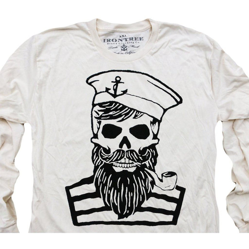 Blackbeards Ghost: Organic Fine Jersey Long Sleeve T-Shirt In Unbleached Natural Men - Apparel - Shirts - T-Shirts