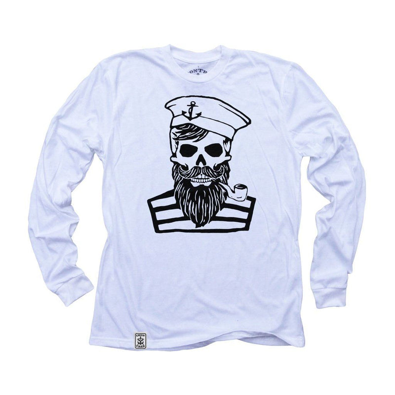 Blackbeards Ghost: Organic Fine Jersey Long Sleeve T-Shirt In White Men - Apparel - Shirts - T-Shirts