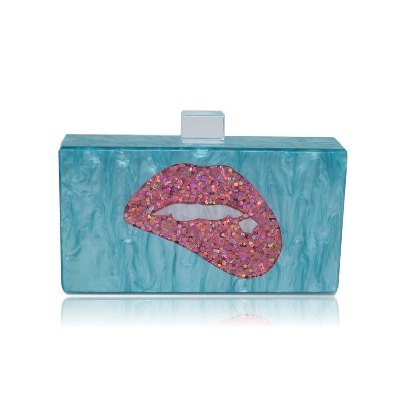 Blue Lips Acrylic Box Clutch-Milanblocks Women - Bags - Clutches & Evening