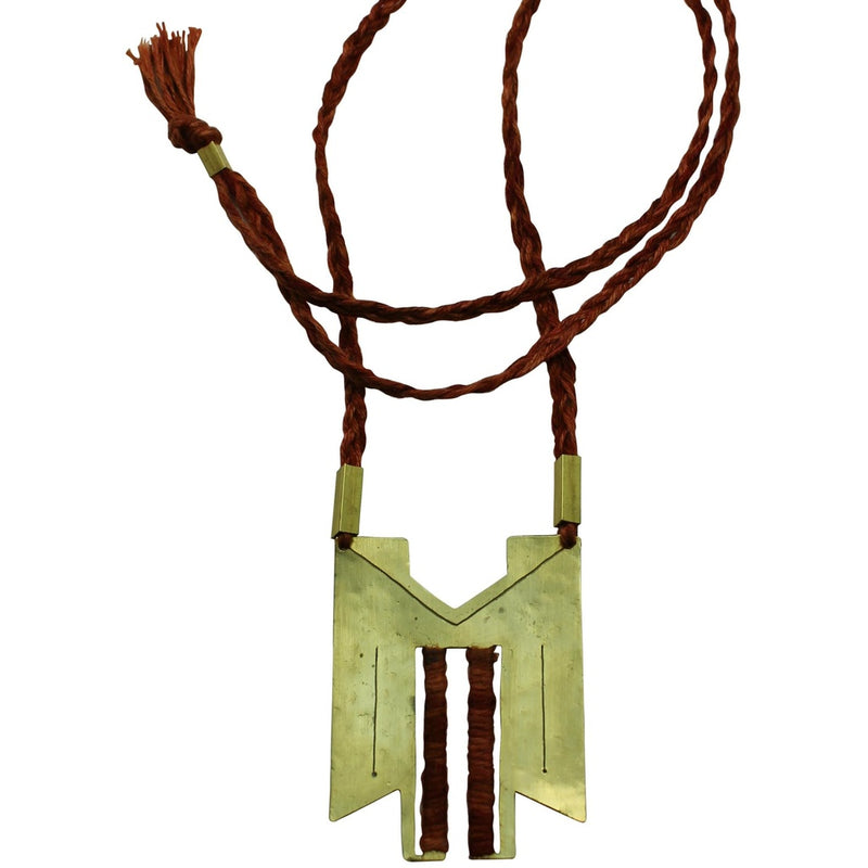 Aphrodite Necklace in Brass & Linen.