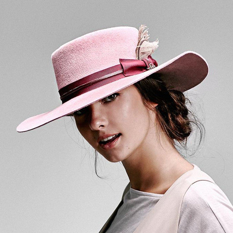 El Rosal Wide Brim Pork Pie Hat - Pink Women - Accessories - Hats