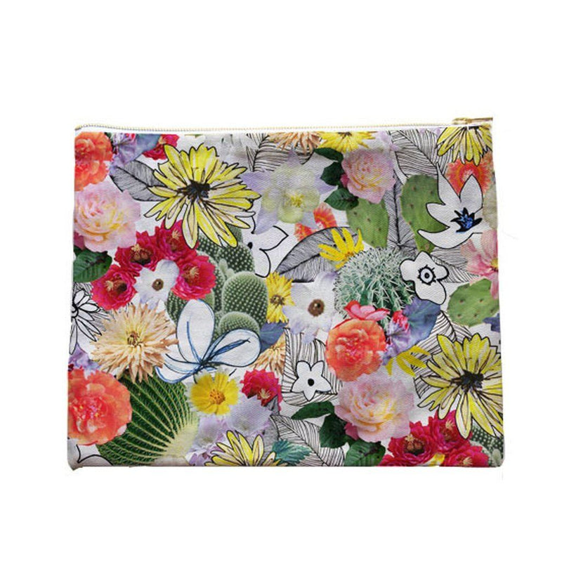 Flower Collage Clutch In Organic Cotton Canvas. Women - Bags - Clutches & Evening
