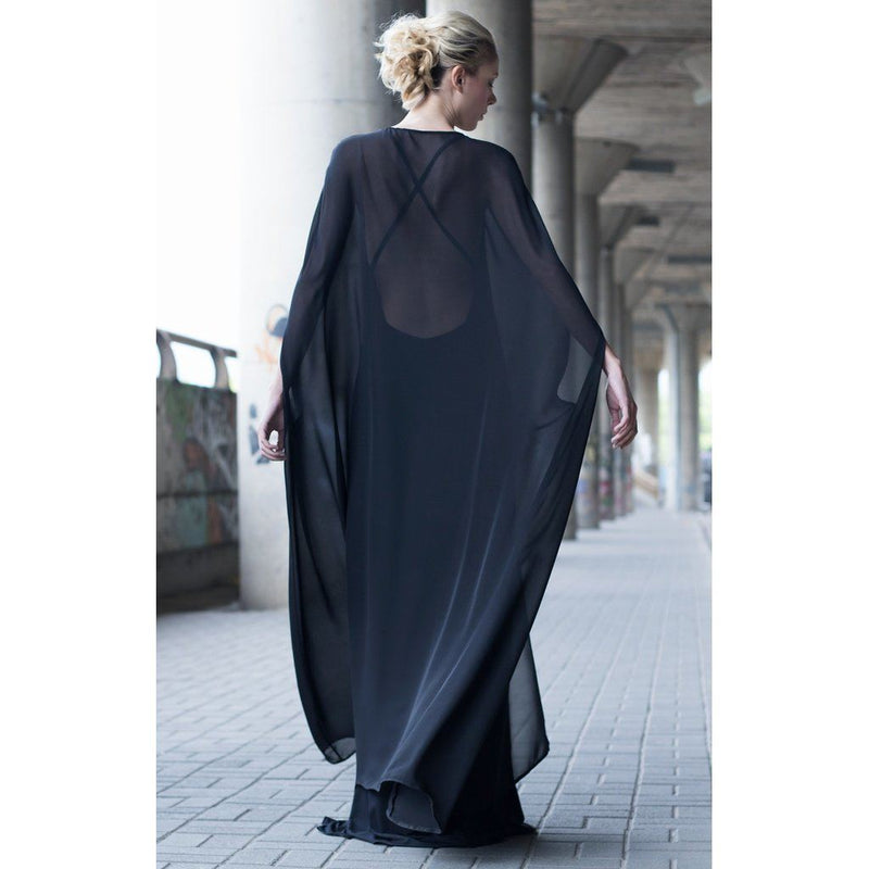 Georgette Silk & Cotton Black Cape Dress Women - Apparel - Dresses - Evening