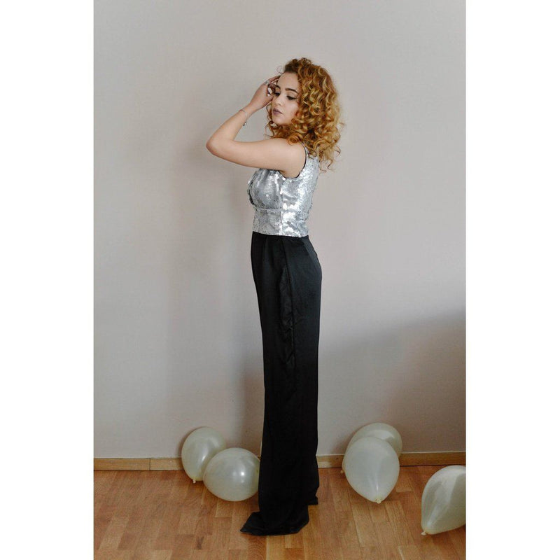 Georgette Silk & Silver Sequin Plunging Neckline Jumpsuit Women - Apparel - Jumpsuits/rompers