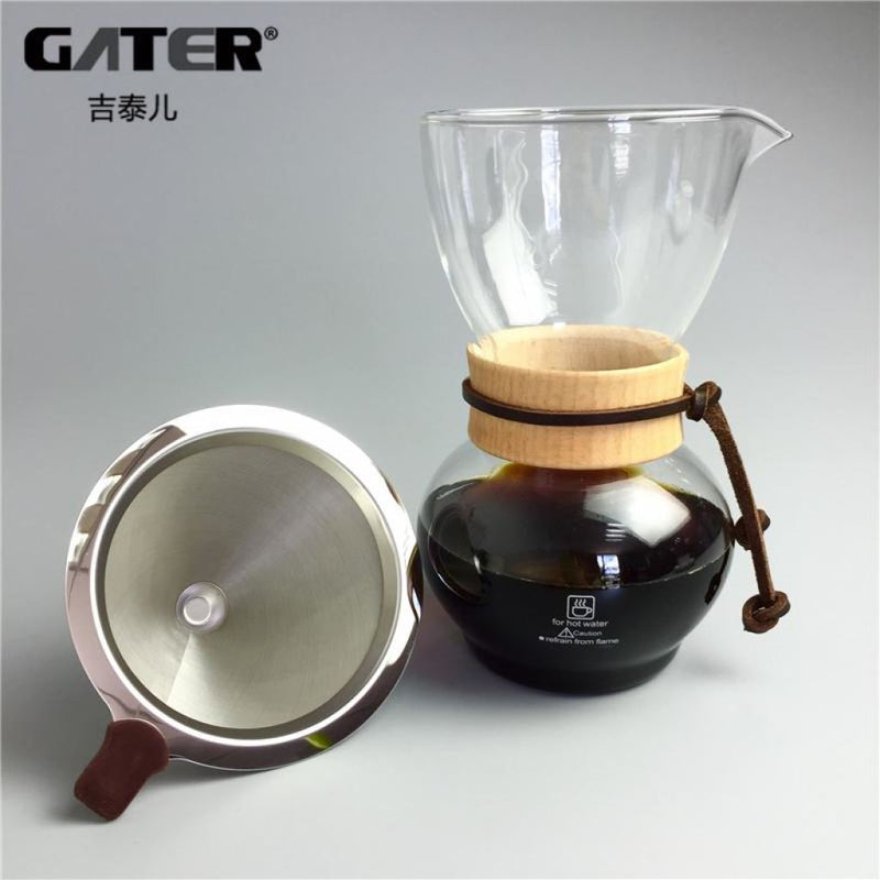 Glass Coffee Drip Pot With Reusable Stainless Steel Filter
