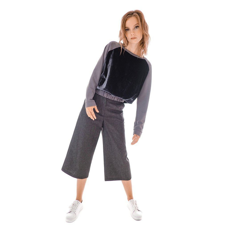 Gray Denim Culottes Women - Apparel - Pants - Cropped