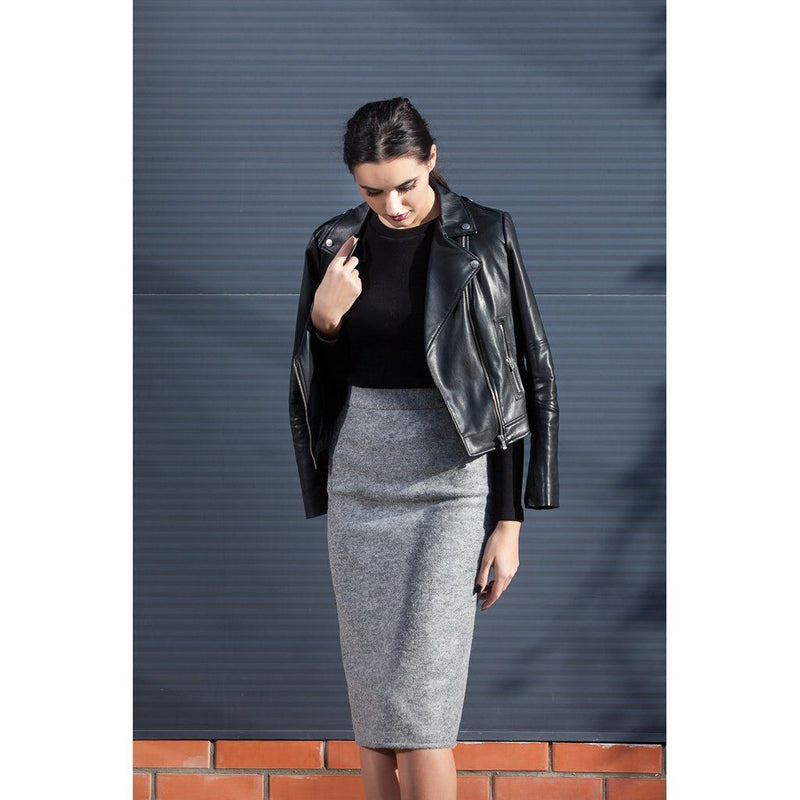 Grey Wool Pencil Skirt Women - Apparel - Skirts - Pencil