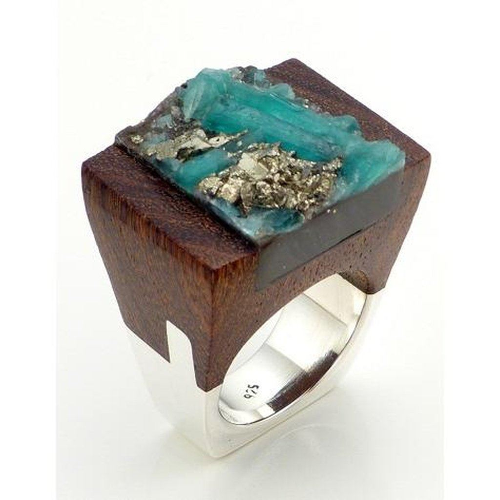 Hand-Crafted Emerald Wood Ring Women - Jewelry - Rings
