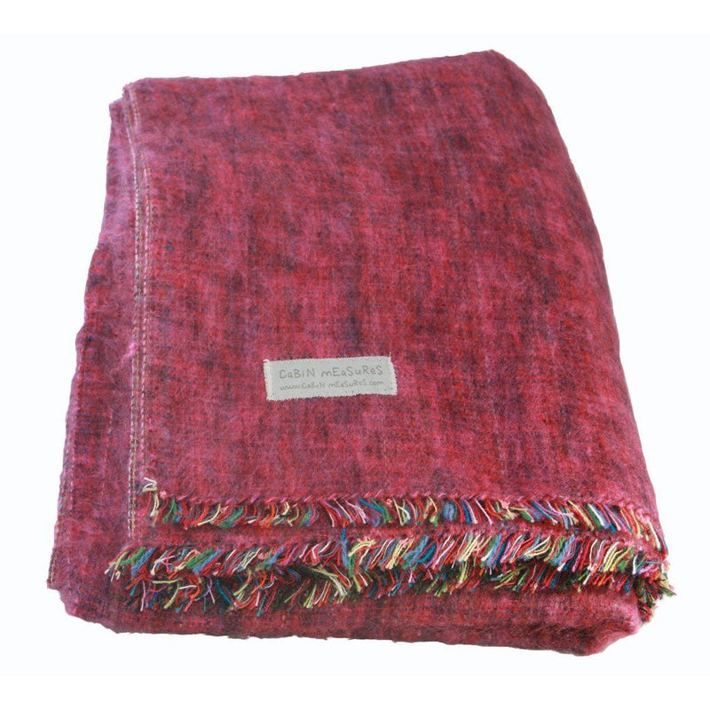 100% Alpaca Travel Blanket In Berry. Home - Pillows & Throws