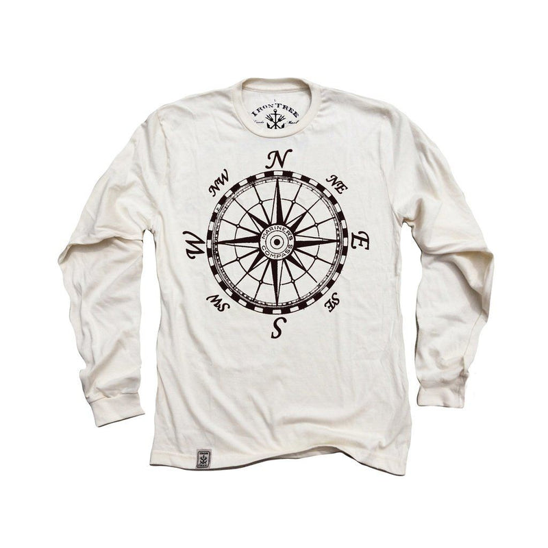 Mariners Compass: Organic Long Sleeve T-Shirt In Unbleached Natural Men - Apparel - Shirts - T-Shirts