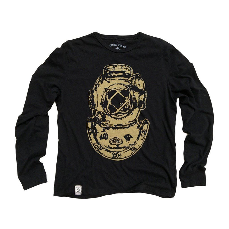 Mark V Antique Divers Helmet: Organic Fine Jersey Long Sleeve T-Shirt In Black Men - Apparel - Shirts - T-Shirts
