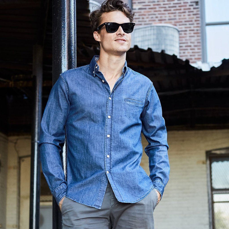 Milano Denim Button Down - Mens Men - Apparel - - Shirts