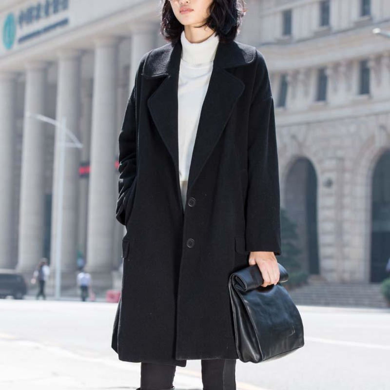 New Seasons Womens Wool Blend Coat For 2018 Black / S