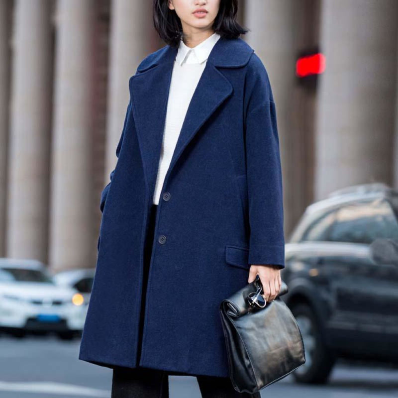 New Seasons Womens Wool Blend Coat For 2018 Navy Blue / S