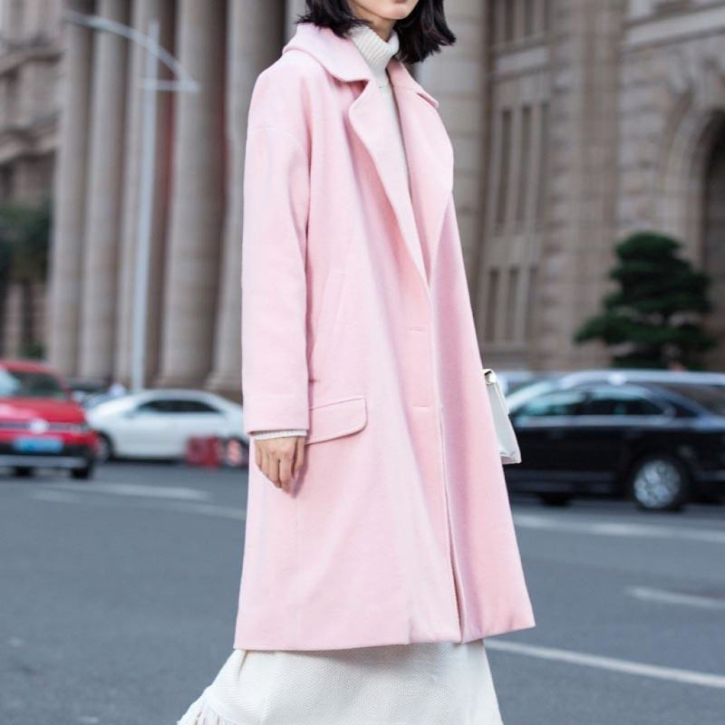 New Seasons Womens Wool Blend Coat For 2018 Pink / S