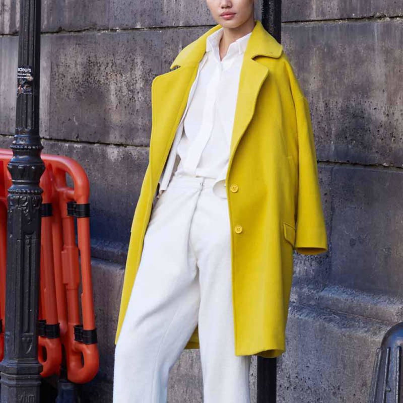 New Seasons Womens Wool Blend Coat For 2018 Yellow / S