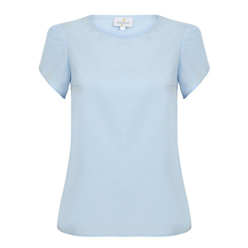 Organic Cotton Light Blue Poplin Top With Toulip Short Sleeves Women - Apparel - Shirts - Blouses