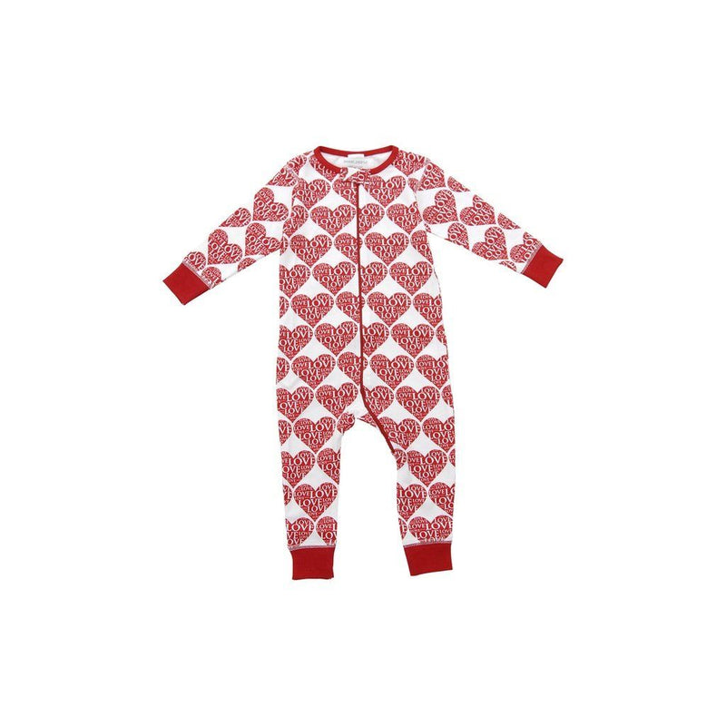 Organic Cotton Long Romper In All My Love Kids - Girls - Apparel
