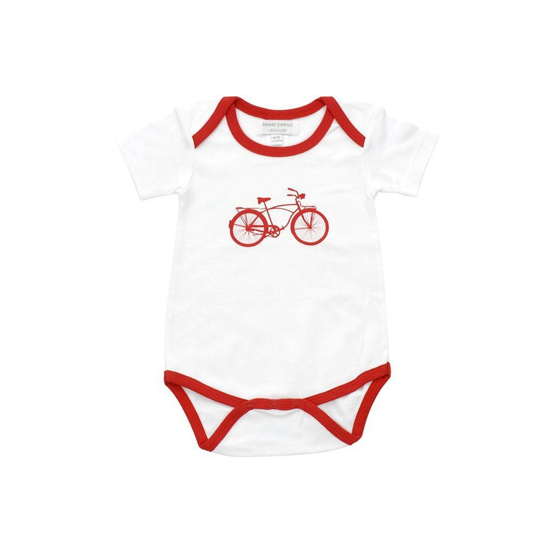 Organic Cotton Onesie With Red Bicycle Kids - Boys - Apparel