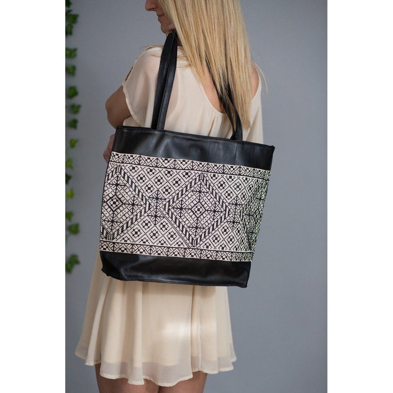 Palestinian Layl Leather Tote With Pearl Cotton Embroidery Women - Bags - Totes