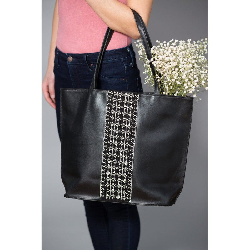 Palestinians Ecru Leather Tote With Pearl Cotton Embroidery. Women - Bags - Totes