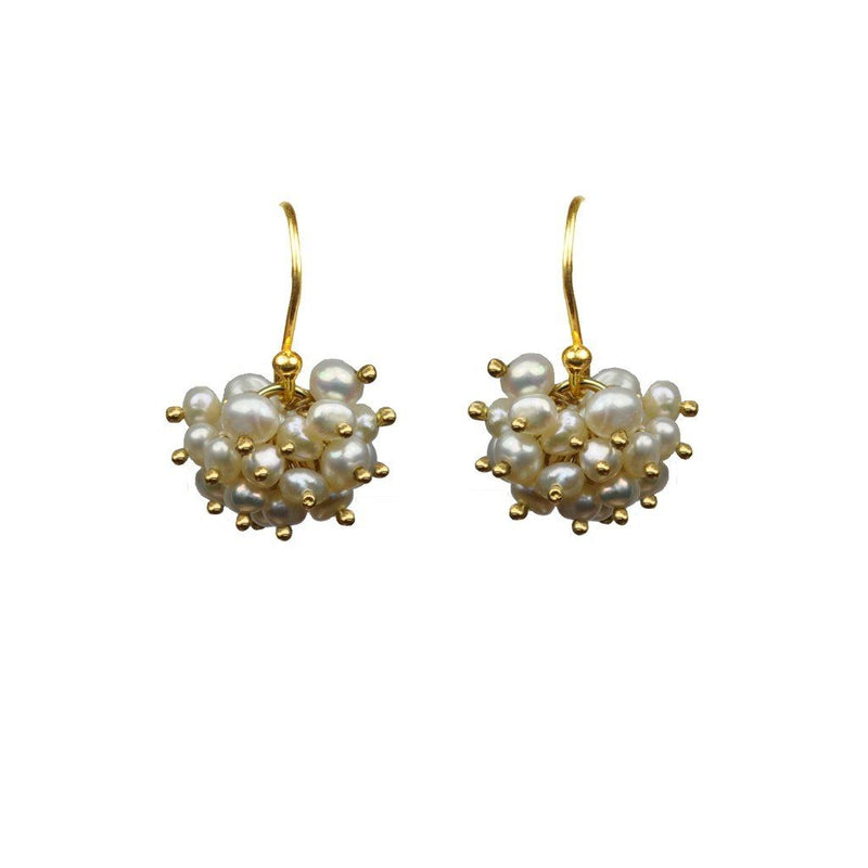 Pearl Cluster Vermeil Earrings Women - Jewelry -
