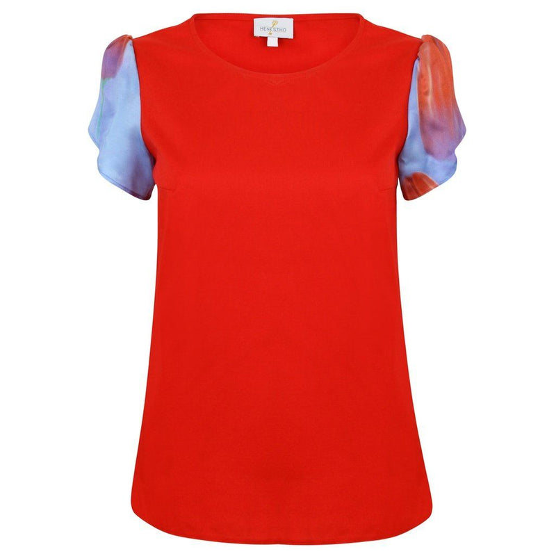 Red Toulip Bamboo Silk & Organic Cotton Top With Short Sleeves. Women - Apparel - Shirts - T-Shirts