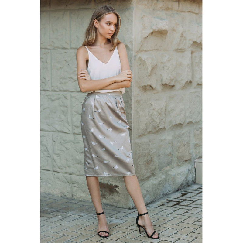 Satin Printed Pencil Skirt Women - Apparel - Skirts - Knee Length