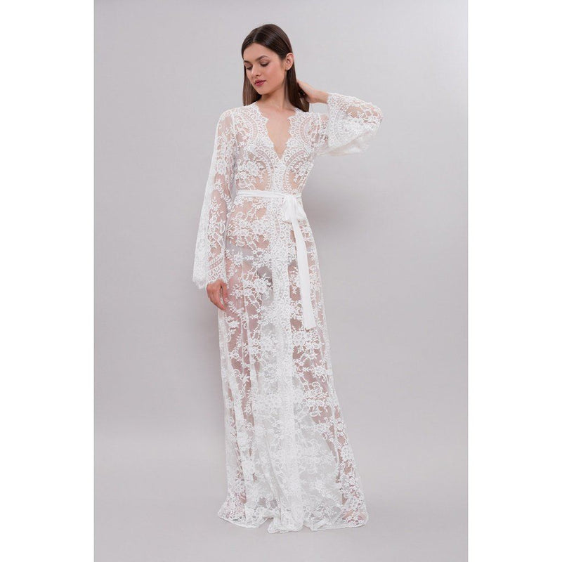 Silk & Lace Long Bridal Robe Women - Apparel -