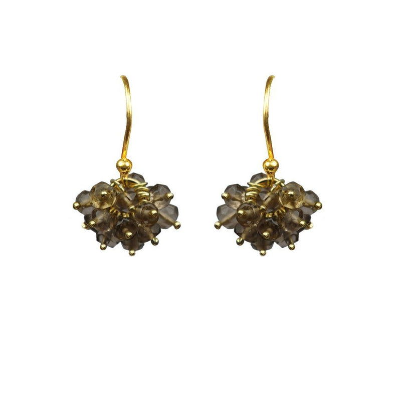 Smoky Topaz Cluster Vermeil Earrings Women - Jewelry -