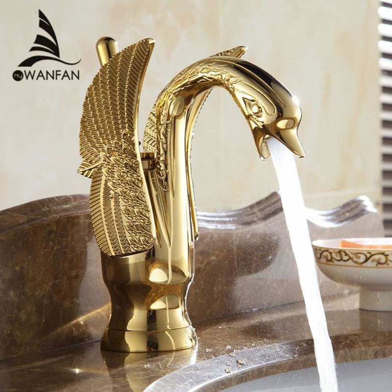 Swan Faucets In Luxury Copper Gold Plated Materials.