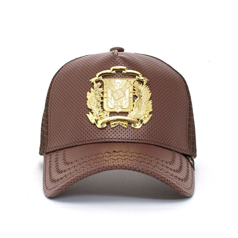 Trucker Hat - Dr Shield Leather Brown/gold Men - Accessories - Hats