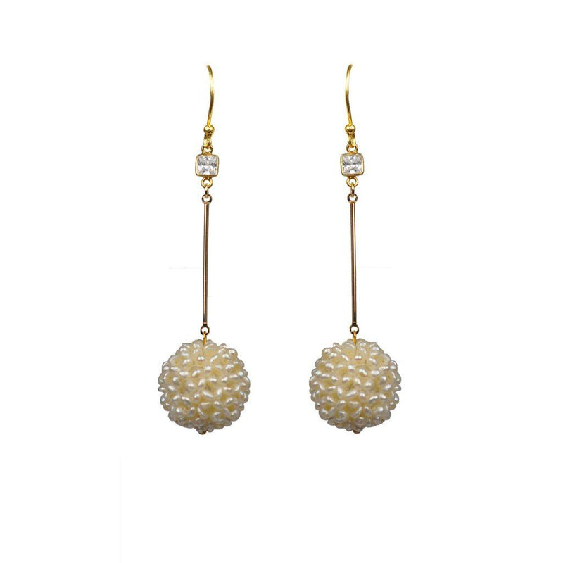 White Topaz Pearl Cluster Ball Vermeil Earrings Women - Jewelry -