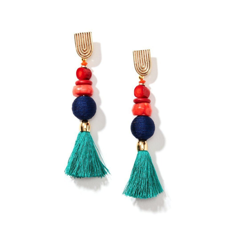 Womens 18K Gold Plated Gemstone Silk Tassel Earrings. Women - Jewelry - Earrings